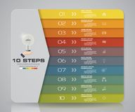 Simple&editable 10 steps process. Infographics element for presentation. EPS 10 Stock Photos