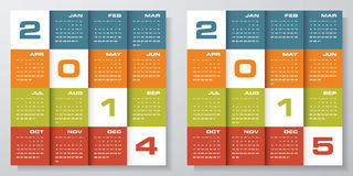 Simple editable vector calendar 2014-2015 Stock Photos
