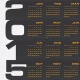 Simple editable vector calendar 2015 Royalty Free Stock Photography