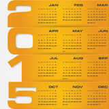 Simple editable vector calendar 2015 Stock Image