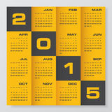 Simple editable vector calendar 2015 Royalty Free Stock Photography