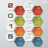 Simple editable vector calendar 2015 Royalty Free Stock Images