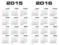 Simple&Editable 2015 and 2016 years calendar. Simple&Editable 2015 and 2016 years calendar vector illustration Stock Image