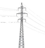 Simple electrical steel pylon isolated on white Stock Photography