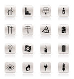 Simple Electricity, power and energy icons Royalty Free Stock Photos