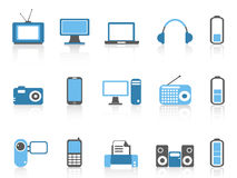 Simple electronic icons,blue color series Stock Photos