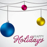 Simple, elegant bauble Christmas card Stock Image