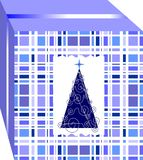 Simple and elegant Christmas gift box, decorated with  tree of several blue colors. 1 Stock Photo