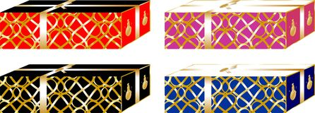 Simple and elegant Christmas gifts boxes, decorated with golden ribbon around them of red, black, purple and blue colors. 1 Stock Images