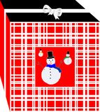 Simple and elegant Christmas gifts red box, decorated with several snow puppets. Royalty Free Stock Images