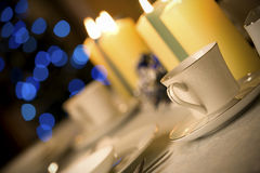 Simple but elegant Christmas table setting Stock Photo