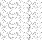 Simple elegant pattern with leaves drawn in thin lines in black. Seamless vector texture for web, print, wallpaper. Simple elegant pattern with leafs drawn in Stock Photos