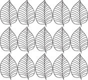 Simple elegant pattern with leaves drawn in thin lines in black. Seamless vector texture for web, print, wallpaper. Simple elegant pattern with leafs drawn in Royalty Free Stock Images