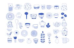 Simple, elegant and stylish collection of modern hand drawn kitchenware, japanese ceramics, logos and illustrations. Craft and handmade concept stock illustration