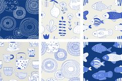 Simple, elegant and stylish collection of modern hand drawn kitchenware, japanese ceramics, seamless patterns. Craft and handmade concept stock illustration