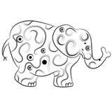 Simple Elephant Outline Zentangle Style Stock Photos