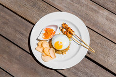 Simple english breakfast on wooden background Stock Images