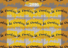 Simple English calendar 2016. On the seamless pattern. Week Starts Monday Royalty Free Stock Photography