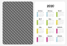 Simple English Vector Pocket Calendar. 2020 Year. stock illustration