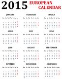 Simple European Calendar for 2015 Stock Images