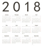 Simple european square calendar 2018. Simple european square 2018 year vector calendar. Week starts from Monday Stock Images