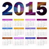 Simple european 2015 year color vector calendar Royalty Free Stock Photos