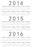 European 2014, 2015, 2016 year vector calendar Stock Image