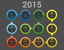 Simple european 2015 year vector calendar. Simple european 2015 year calendar Stock Image