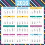 Simple european 2016 year vector calendar. Beautiful vector design Vector Illustration