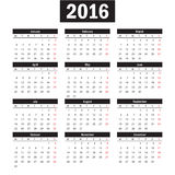 Simple european 2016 year vector calendar Royalty Free Stock Images