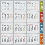 Simple european 2015 year vector calendar. Colored mounth Royalty Free Stock Photography
