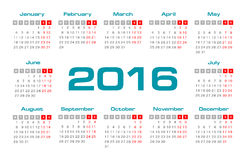 Simple european 2016 year vector calendar. Eps 10 vector illustration
