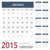 Simple european 2015 year vector calendar. Simple european calendar grid for 2015 year. Clean and neat. Only plain colors - easy to recolor stock illustration