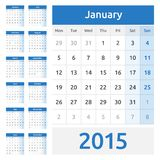Simple european 2015 year vector calendar Royalty Free Stock Images