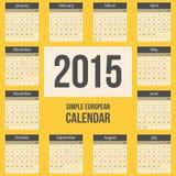 Simple european 2015 year vector calendar Stock Photo