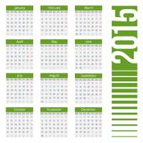 Simple european 2015 year vector calendar. Simple european calendar grid for 2015 year. Clean and neat. Only plain colors - easy to recolor. Vector illustration Royalty Free Stock Image