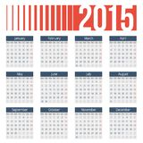 Simple european 2015 year vector calendar. Simple european calendar grid for 2015 year. Clean and neat. Only plain colors - easy to recolor. Vector illustration Royalty Free Stock Photography