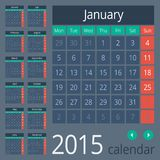 Simple european 2015 year vector calendar. Simple european calendar grid for 2015 year. Clean and neat. Only plain colors - easy to recolor. Vector illustration royalty free illustration