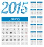 Simple european 2015 year vector calendar. Simple european calendar grid for 2015 year. Clean and neat. Only plain colors - easy to recolor. Vector illustration Stock Photo