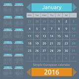 Simple european 2016 year vector calendar. Simple european calendar grid for 2016 year. Clean and neat. Only plain colors - easy to recolor. Vector illustration royalty free illustration