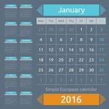 Simple european 2016 year vector calendar Royalty Free Stock Photography