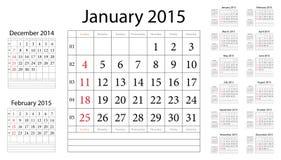 Simple european 2015 year vector calendar. Week starts from Sunday vector illustration