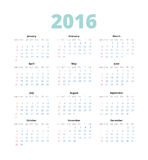 Simple european 2016 year vector calendar. Simple european 2016 on White Background. Week Starts Monday. Simple Vector Template Royalty Free Stock Photo