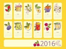 Simple european 2016 year vector calendar Stock Photo