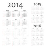 European 2014, 2015, 2016 year vector calendars. Simple european 2014, 2015, 2016 year vector calendars Stock Photo