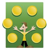 Simple Explanation. Illustration of a young man explaining things visually presented in the shape of round plates that can be filled with custom signs or Royalty Free Stock Photos