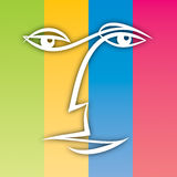 Simple Face. An illustration of a simple face on a colourful background Royalty Free Stock Image