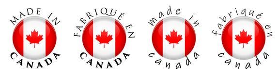 Simple fait au Canada/signe français de bouton de la traduction 3D texte illustration stock