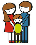 Simple family drawing with parents and kid Royalty Free Stock Image