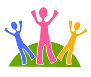 Simple Family Group Clip Art 2. A clip art illustration of a family group in green, blue, pink and yellow colors standing on a hill with arms stretched upward stock illustration